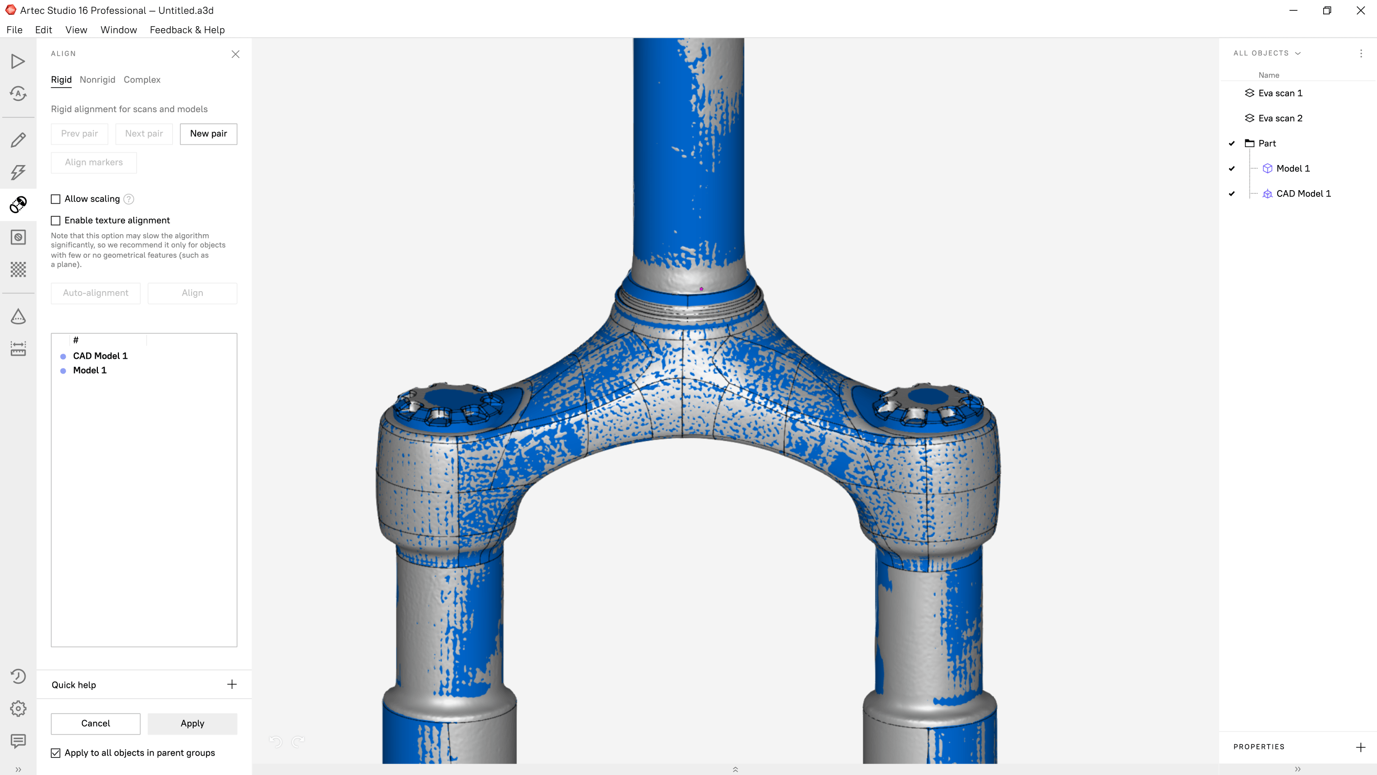 Scan-to-CAD for quality inspection
